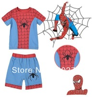 Free Shipping Summer Baby Boys Spider Man Short Sleeve T-shirt Pants Two Piece Sets Infant Toddler Kids Children's Outfits Suit