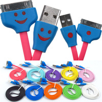 USB Cable Laugh/Smile Face LED Light Lights Flat Noodle Micro Charge/Data Cable for iPhone 4/4S/iPad, 20pcs/lot freeshipping
