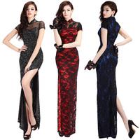 Lan kwai fong 2015 placketing Qipao long lace cutout chinese style formal dress sexy cheongsam dress 5061
