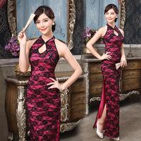Lan kwai fong 2014 placketing halter-neck long Qipao lace cutout chinese style formal dress sexy cheongsam dress Free shipping