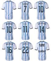 2014 World Cup Argentina Home KUN AGUERO Messi DI MARIA soccer jersey Grade Original thai quality football jerseys soccer shirt