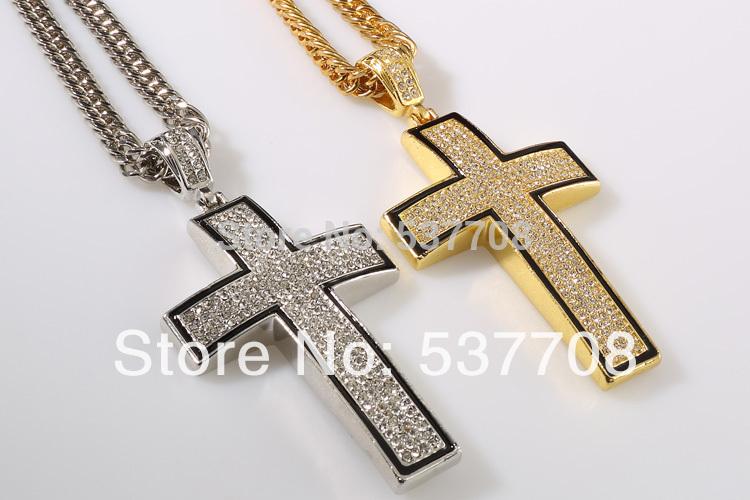 New 2014 Hip Hop 24K Gold Silver Rapper Vintage Crystal Cross Pendant Necklace Chain Men Jewelry