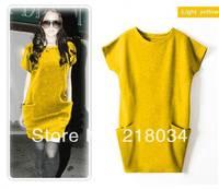 High quality sell  Spring Summer Women's woolen Dress Sweaters Casual Pocket Jersey Dresses For Women M L XXXL