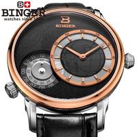 Binger accusative case watch male watch double movement waterproof genuine leather mens watch traveler series