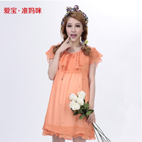 2014 summer mommas maternity dress fashion beading chiffon one-piece dress for pregnant women