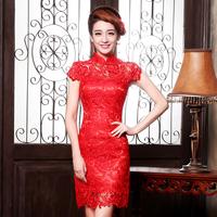 2014 spring elegant slim married cheongsam red lace chinese style design short formal dress evening dress
