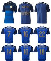 Top A+++ 2014 World Cup Argentina away messi kun Aguero soccer jersey Grade Original thai quality football jersey soccer shirts