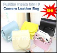 Free Shipping 5 colors PU soft bay Fujifilm Instax Mini 8 Camera Leather Bag Pink Polaroid Camera Bag for Mini 8
