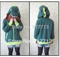 New!!!! Free Shipping! Dinosaur Japan Anime Pokemon Cosplay Ears Face Tail Zip Dinosaur Hoodie Hoody Sweatshirt Costume,S M L XL