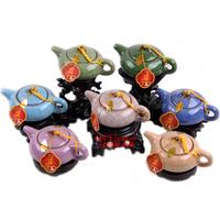 Teapot tea set kung fu calvings glaze tea set crack 7color choose