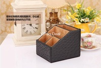 Free shipping Eur Style Black Ostrich PU Leather Desktop Pen Holder Cup Pen Pot Holder Pen Container Storage Box-TX