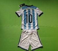 A+++ Top 10# Messi Kids Kit Argentina 2014 Thailand Soccer Kits Futbol Jersey Sports Suit Children Shirt Boy Football Pant