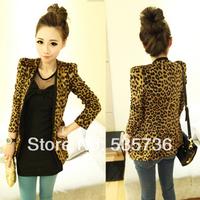 2013 fashion Spring Autumn Women Leopard Jacket Slim Fit One Button Blazer With Shoulder Pad Suede Outwear size S/M/L  2887