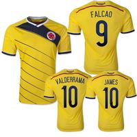 Top A+++ original grade 2014 World Cup Colomabia Home #9 FALCAO #10 JAMAS soccer jersey football jersey soccer shirt
