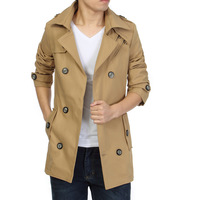 2014 large size men's British style fashion casual trench coat men jacket 6XL plus male Tops trench coat for Gentleman people