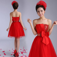 Dress bride married short design red evening dress 2014 sweet tube top puff skirt