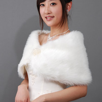 2014 bride wedding dress formal dress autumn and winter thermal white red bride all-match fur shawl