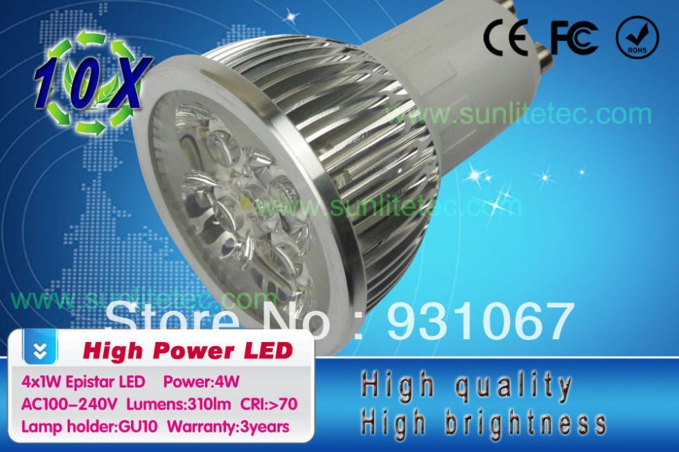 led lamp 4x1W GU10 85-265V Led Lights led Spotlight LED Bulbs Downlight Free Shipping 10PCS/lot(China (Mainland))