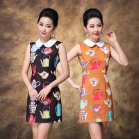 2013 spring and summer fashion elegant women's teapot print slim ol vest formal peter pan collar one-piece dress