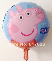 New styles , 10pcs/lots ,18 inch round shape peppa pig foil balloons ,cartoon balloons