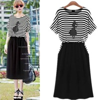S-XXL 2014 Spring Summer Fashion Women Long Casual Stripe Dresses Female Short-sleeve Plus size Elastic Waist Dress WD089