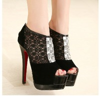 Free shipping women sandals new 2014 new sweet lace hollow diamond fish head women shoes