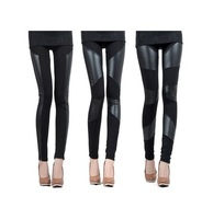 2014 Spring patchwork faux leather pants women's patchwork PU thin material ankle length thermal legging in stock