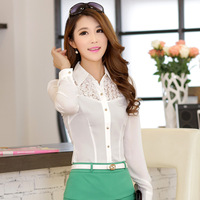 3D Rose Lace Hollow Out Shirts Brand Design 2014 New Fashion Women's long sleeve OL Formal Career Sweet Chiffon Top Blouses