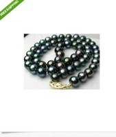 AAA Round 8-9MM SOUTH SEA BLACK PEARL NECKLACE 14K 18inch + Box