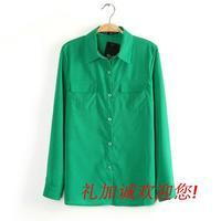 Free shipping Spring  2014 Women's Solid Color Pocket turn-down collar long-sleeve straight chiffon shirt casual shirt
