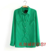 Free shipping Spring  2014 Women's Solid Color Pocket turn-down collar long-sleeve straight chiffon shirt casual shirt