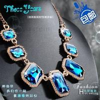 Free shipping 2014 New Arrival fashion Trendy Crystal petal rhinestone women collar decor chain pendant necklace