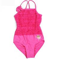 Retail girls 2-12y swimsuit Dora Flower cheap cute bathing suits Children's set Clothing one pieces kids swimwear Girl Bikini
