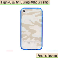 High Quality Camouflage Style PC Cover TPU Frame Case For iPhone 4 4G 4S Free Shipping DHL EMS HKPAM CPAM DSJ-1