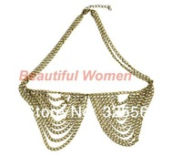 10pcs/Lot New Women Metal Multilayer Chain Tassels Choker Bib False Collar Necklace 9153