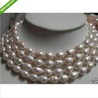 "68"" 14K GOLD HUGE AKOYA WHITE BAROQUE PEARL NECKLCE"