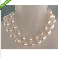 "36""11-13mm NATURAL WHITE SOUTH SEA BAROQUE PEARL NECKLACE 14K"