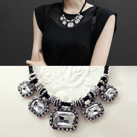 Free shipping 2014 New Arrival Quality Fashion Vintage Chain Crystal Gem Decoration Women Short Pendant Necklace