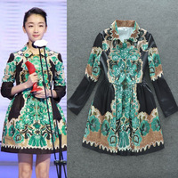 Star of the same paragraph Arab Royal Queen doll collar printed long-sleeved dress was thinVV2Arab-Muslim long dress