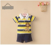Retail new carters baby boy short sleeve suit 2014 summer yellow lion stripe T-shirt+shorts 2-piece set baby boy outfits 6-24M