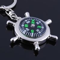 Free shipping,2014 wholesale (8pcs/lot) personalized creative Helmsman Compass Keychain metal keychain key ring novelty items