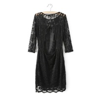2014 New Fashion Spring Summer Plus Size Sheath Mini Regular Half Sleeve Empire Lace Hollow Out O-neck Slim Dress for Women XL