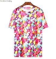2014 Japanese ayumi street snap tide female original SuFeng candy bear donuts zipper rainbow t-shirt T1255