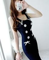 DR1766 lady Boho Style Navy Blue 50s Vintage Sexy Sleeveless Party Dress Bodycon Slim