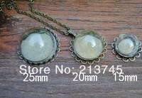 Freeshipping 20sets/lot half 15mm Glass Dome Vial & base & connector&Necklace set glass bottle glass vials pendant DIY