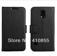 Luxury Credit card hold side flip Stand pu Leather Wallet Case For Samsung Galaxy S5, 1pc freeshipping