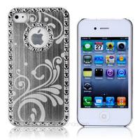 Luxury Bling Chrome Aluminum Diamond Hard Case Cover For iPhone 4 4S+film+pen XDA0828-25