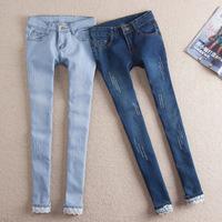 Cotton Women's jean pants 2014 Spring Newest model Casual Pencil Pants for women 2 colors