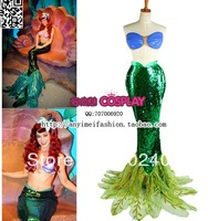Hot sale Sexy Adult Mermaid Ariel dress Custom Made Cosplay Costume  without bra