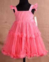 cheap 4pcs Children girl's 2014 Summer girl child pink butterfly sleeve tulle spaghetti strap dress